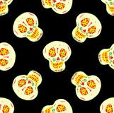 Безшовная картина с мексиканскими черепами сахара Стоковые Изображения RF