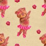 Безшовная картина с медведем танцев в балетной пачке балета Стоковое Изображение RF