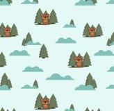 Безшовная картина с медведями и елями облаков Стоковые Изображения RF