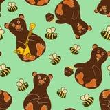 Безшовная картина с медведями и пчелами Стоковые Фото