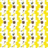 Безшовная картина с медведями, пчелами и медом Стоковые Изображения RF