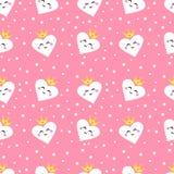 Безшовная картина с милой принцессой сердец Орнаментируйте для тканей и оборачивать ` s детей Плоский стиль вектор иллюстрация вектора