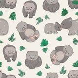 Безшовная картина с милой wombats и листьями зеленого цвета нарисованными рукой Фон с смешными животными взрослого и младенца на  Стоковые Изображения