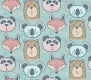 Безшовная картина с милый животными бесплатная иллюстрация