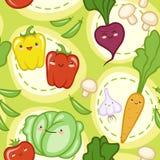 Безшовная картина с милый свежими овощами Стоковое Изображение