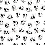 Безшовная картина с милыми иллюстрациями вектора собаки щенка, собрание элементов текстуры домашних животных простых, чернота и Стоковые Изображения