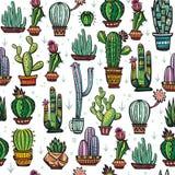 Безшовная картина с милыми кактусами Стоковая Фотография RF