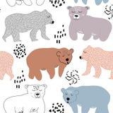 Безшовная картина с милыми медведями иллюстрация вектора для ткани, ткани, украшения питомника иллюстрация штока