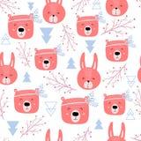 Безшовная картина с милыми медведями и кроликами - boho Скандинавская текстура для ткани, создавая программу-оболочку, ткань стил иллюстрация штока
