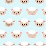 Безшовная картина с милыми овцами на сини Предпосылка вектора для детей иллюстрация штока