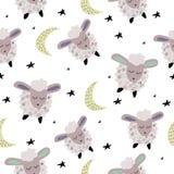 Безшовная картина с милыми овцами спать бесплатная иллюстрация