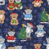 Безшовная картина с милыми плюшевыми мишками рождества бесплатная иллюстрация