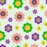 Безшовная картина с милыми смешными цветками и травами шаржа Хороший выбор для аксессуаров, ткани и другого детей иллюстрация штока