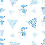 Безшовная картина с милым снеговиком и треугольники на белом ба Стоковые Изображения