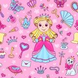 Безшовная картина с милой маленькой принцессой Стоковая Фотография RF