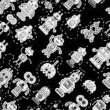 Безшовная картина с милыми винтажными роботами Стоковое Фото
