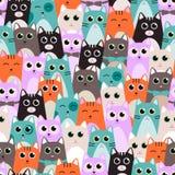 Безшовная картина с милыми котами для детей также вектор иллюстрации притяжки corel Стоковое Изображение RF