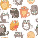 Безшовная картина с милыми котами Стоковое Фото