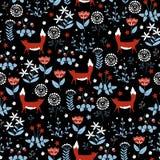 Безшовная картина с милыми красными лисами на предпосылке цветка doodle иллюстрация вектора