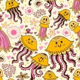 Безшовная картина с милыми медузами Стоковая Фотография RF