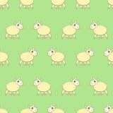 Безшовная картина с милыми овцами на траве Стоковое Изображение