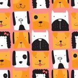 Безшовная картина с милыми собаками иллюстрация вектора