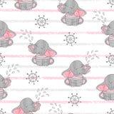 Безшовная картина с милыми слонами матроса Стоковое Фото