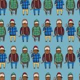 Безшовная картина с милыми lumberjacks Стоковые Фото