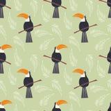 Безшовная картина с милым попугаем джунглей toucan на зеленом цвете иллюстрация вектора