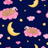 Безшовная картина с милым спать плюшевым медвежонком, облаками, звездами и луной иллюстрация вектора