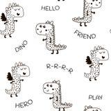 Безшовная картина с милым dino в скандинавском стиле Творческая ребяческая предпосылка для ткани, ткани Стоковое Изображение RF
