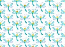 Безшовная картина с милым dragonfly улыбки Бесконечная предпосылка Стоковая Фотография RF