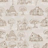Безшовная картина с много домами и деревьев чертеж вручает ее нижнее белье утра вверх по теплым детенышам женщины Стоковые Изображения RF