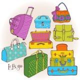 Безшовная картина с много сумками и чемоданами иллюстрация штока