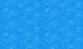 Безшовная картина с морем нарисованным рукой развевает в стиле эскиза вакханические иллюстрация штока