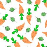 Безшовная картина с морковами нарисованными рукой Плоская иллюстрация Стоковое Фото
