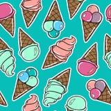 Безшовная картина с мороженым Стоковая Фотография