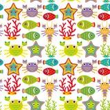 Безшовная картина с морскими животными на белой предпосылке Стоковые Фотографии RF
