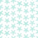 Безшовная картина с морскими звездами в голубом цвете Стоковое Изображение
