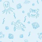 Безшовная картина с морской жизнью нарисованной рукой Стоковые Фотографии RF