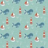 Безшовная картина с морской темой На зеленой предпосылке, ките, маяке и шлюпке o иллюстрация вектора