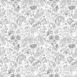Безшовная картина с морской флорой и фауной: медузы, рыбы, кораллы, морская водоросль, пузыри и звезды искусство притяжки руки Стоковое Изображение