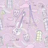 Безшовная картина с музыкой и городом Стоковые Изображения
