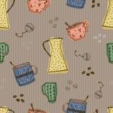 Безшовная картина с нарисованными вручную элементами кофе и чая doodle на коричневой предпосылке иллюстрация штока