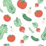 Безшовная картина с нарисованными рукой красочными овощами doodle Собрание вектора стиля эскиза Установленные значки овощей плоск Стоковая Фотография RF