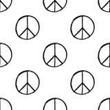 Безшовная картина с нарисованным рукой символом мира hippie Знак pacific хиппи иллюстрация вектора