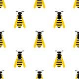 Безшовная картина с насекомыми, симметричная предпосылка вектора с осами желтого цвета крупного плана на светлом фоне Стоковая Фотография
