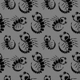 Безшовная картина с насекомыми, темная хаотическая предпосылка вектора с скорпионами крупного плана Стоковое Изображение RF