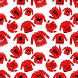 Безшовная картина с некрасивым свитером Искусство можно использовать на праздник иллюстрация штока