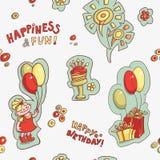 Безшовная картина с днем рождения, счастье и потеха Стоковые Изображения RF